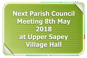 Next Parish Council Meeting 8th May 2018 at Upper Sapey Village Hall