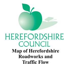 Map of Herefordshire  Roadworks and  Traffic Flow