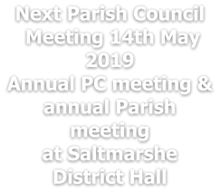 Next Parish Council  Meeting 14th May 2019  Annual PC meeting & annual Parish meeting at Saltmarshe District Hall