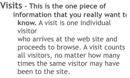 Visits - This is the one piece of information that you really want to know. A visit is one individual visitor  who arrives at the web site and proceeds to browse. A visit counts all visitors, no matter how many times the same visitor may have been to the site.
